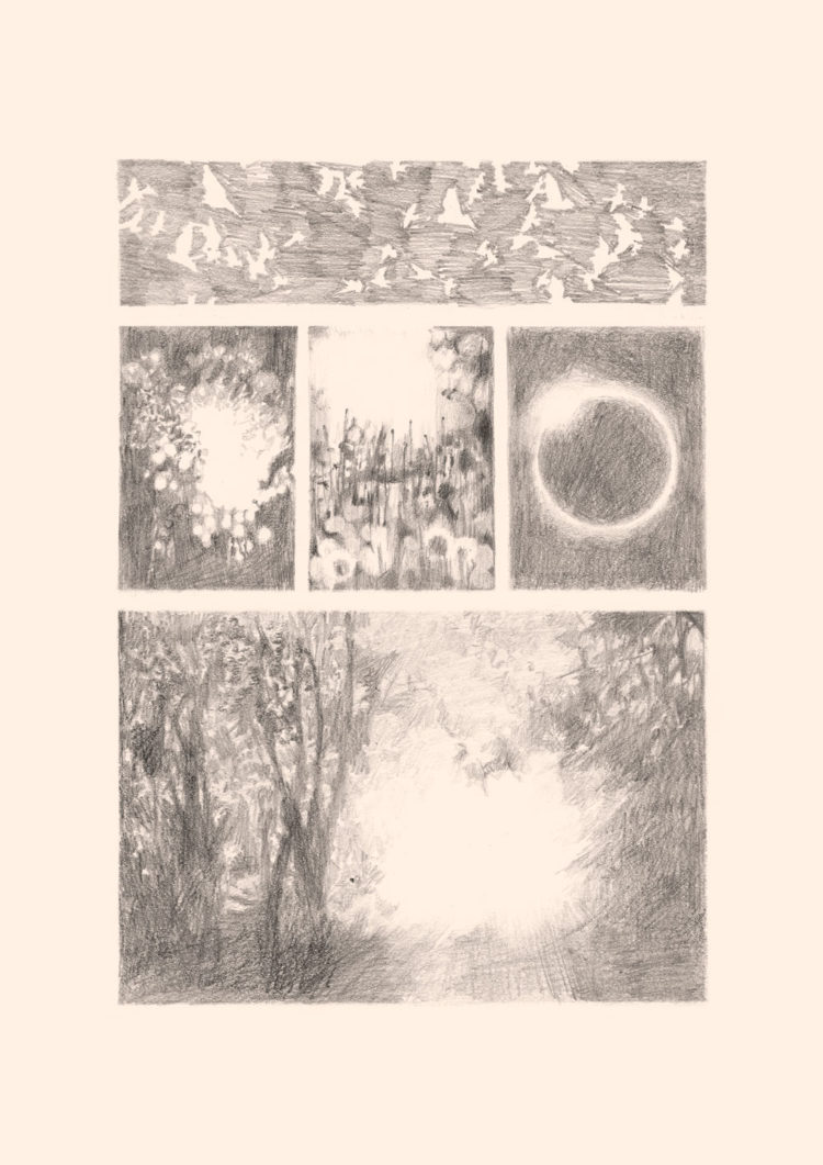 Pencil drawing on primed paper with the title 'Licht'.