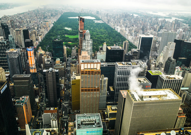 photography with the title 'NYC Rooftops 7'. Capture of Midtown Manhattan, with the Central Park in the Background.