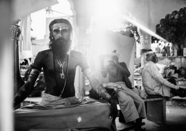 Black and white portrait of an Indian Yogi