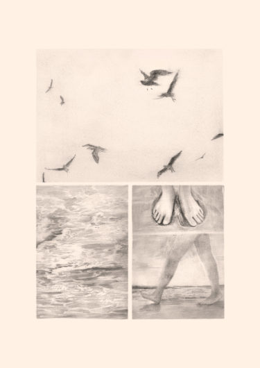 Pencil drawing on primed paper with the title 'Am Strand'