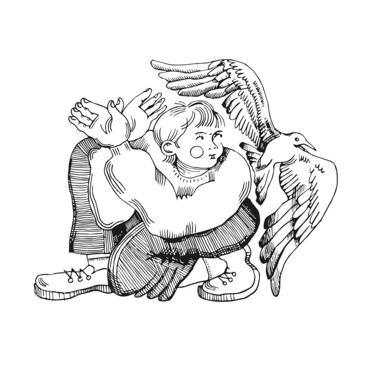 Digitally vectorized black and white illustration with the title 'Bird'. Depiction of a child playing with his hands to imitate a bird flying beside him.