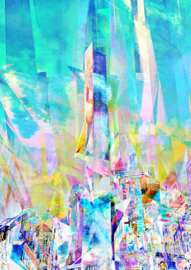 Digital artwork with the title 'City' - creative photographic collage, combined with acryl paint