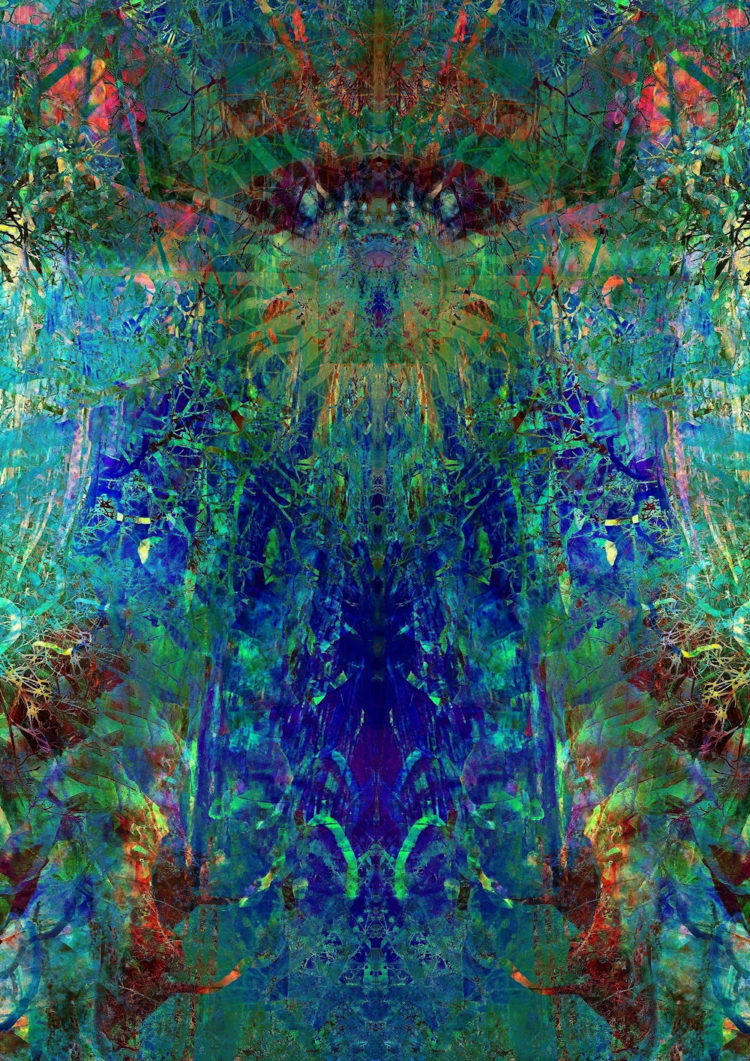 Digital artwork with the title 'Dimensions of Consciousness'. A creative photographic collage, combined with acryl paint