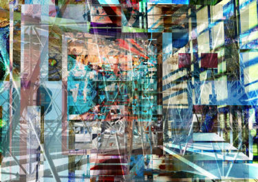 Digital artwork with the title 'Home' - a creative photographic collage, combined with acryl paint