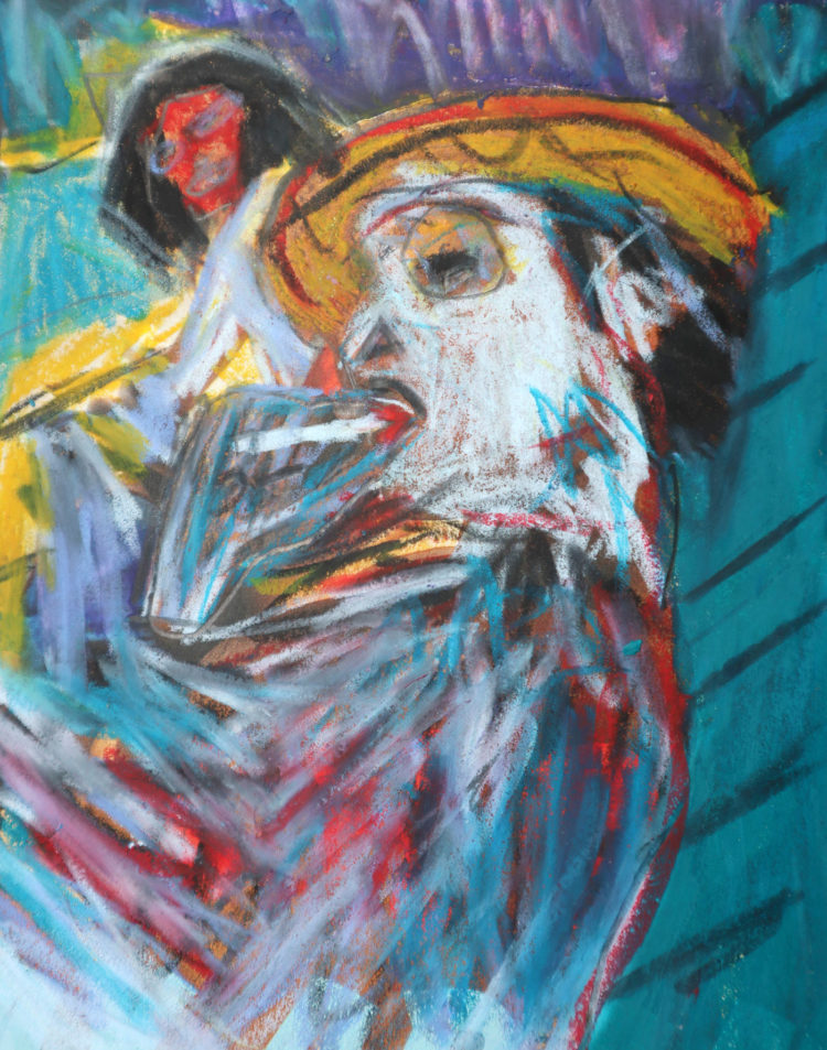 Portrait of a man with the title 'Landlord'. The artist Kevin Reismann painted this artwork on paper using chalk.