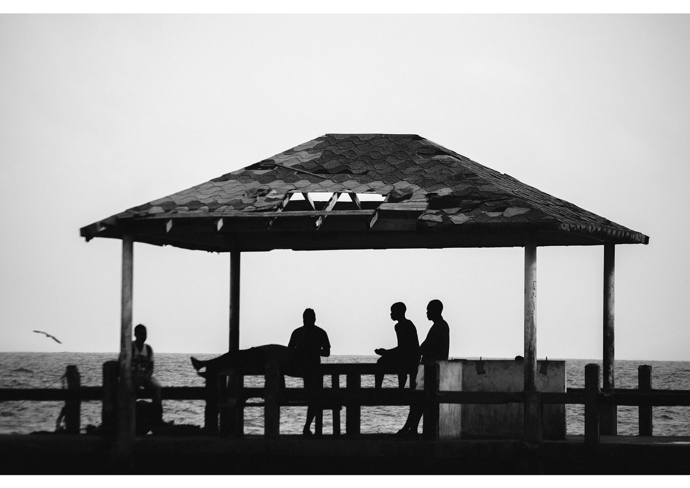 Black and white landscape photography with the title 'Choco'. Showcasing a beach scene from Colombia.