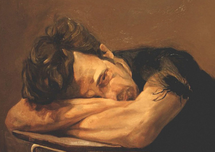 Painting of a man resting his head on his crossed arms on the table