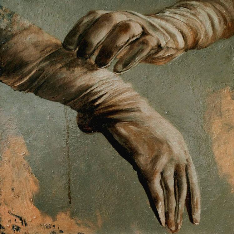 white gloves oil painting -