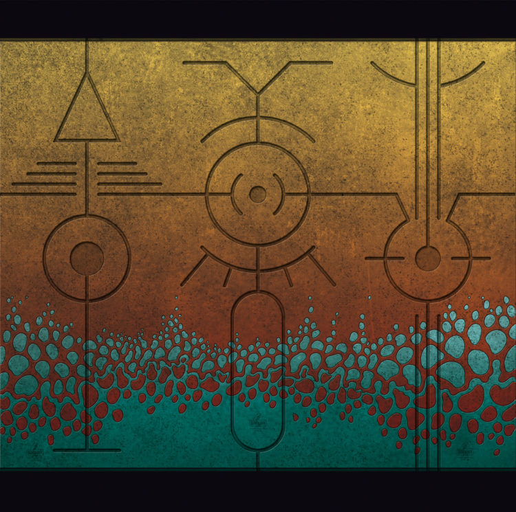 Digital artwork with the title 'Triptychon II'. Each sign consists of a number of well-known, basic shapes, like lines, circles, triangles etc.
