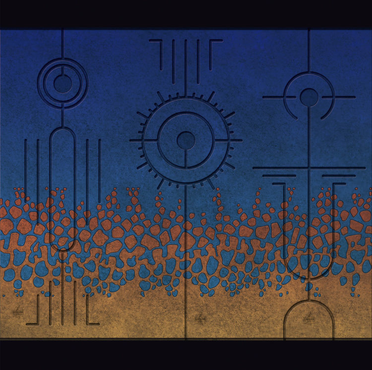 Digital artwork with the title 'Triptychon III'. Each sign consists of a number of well-known, basic shapes, like lines, circles, triangles etc.