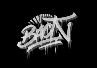 Lettering artwork with the title 'Back'. White lines in front of a black background.