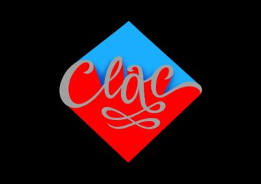 Lettering artwork with the title 'Clac'. Curved lines with strong colours in red and blue in front of a black background.
