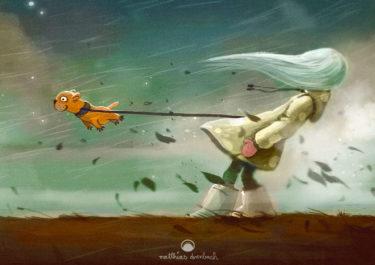 Digitales Kunstwerk mit dem Titel 'Autumn'. Illustration eines Mädchens, das inmitten eines Sturms steht und ihren Hund an der Leine hält, damit er nicht davon fliegt - von Matthias Derenbach