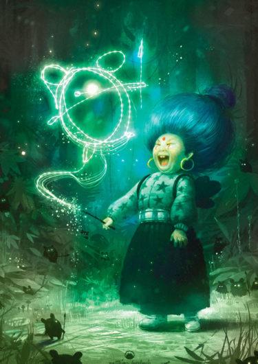Digitales Kunstwerk mit dem Titel 'Crazy Witch'. Zeichnung einer lachenden Hexe, die im Wald steht und mit ihrem Zauberstab in der Luft die kleine Kreatur nachzeichnet, die vor ihr steht - von Matthias Derenbach