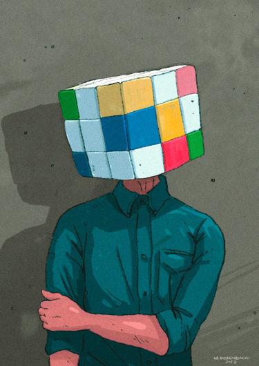 Digitales Kunstwerk mit dem Titel 'Cubehead'. Illustration eines Mannes mit einem Zauberwürfel statt eines menschlichen Kopfes - von Matthias Derenbach