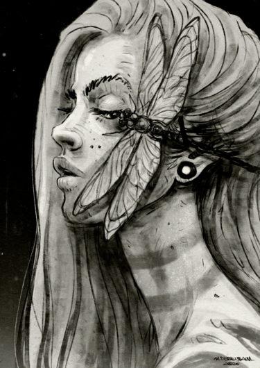 Digitales Kunstwerk mit dem Titel 'Dragonfly'. Seitliches Porträt einer Frau mit einer Libelle im Gesicht - von Matthias Derenbach