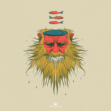 Digital artwork titled 'Fisherman'. Illustration of a man with a yellow fanned out beard and a red face. His head resembles the ocean and there are three red fishes floating above him.