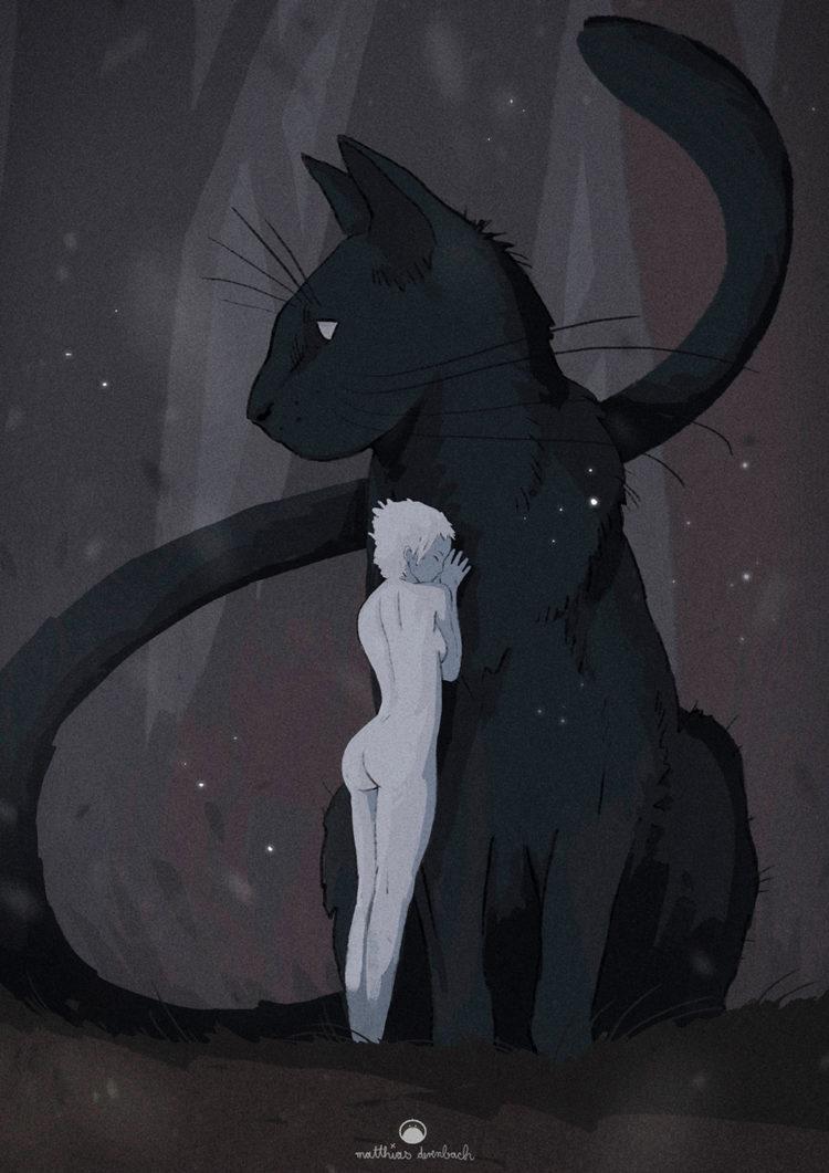 Digitales Kunstwerk mit dem Titel 'Pussy Cat'. Illustration einer nackten Frau in Grautönen, die vor einer großen schwarzen Katze steht und sie umarmt - von Matthias Derenbach